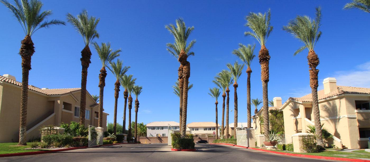 La Villa Estates property encompassed by palm trees and blue skies.
