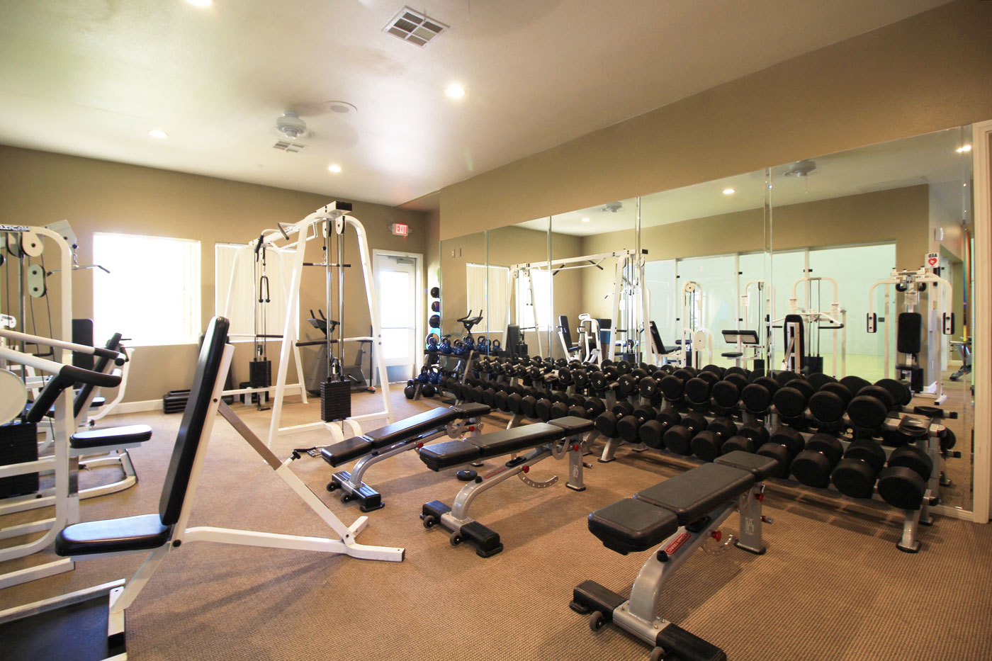 Large gym with mirrored wall and gym equipment.