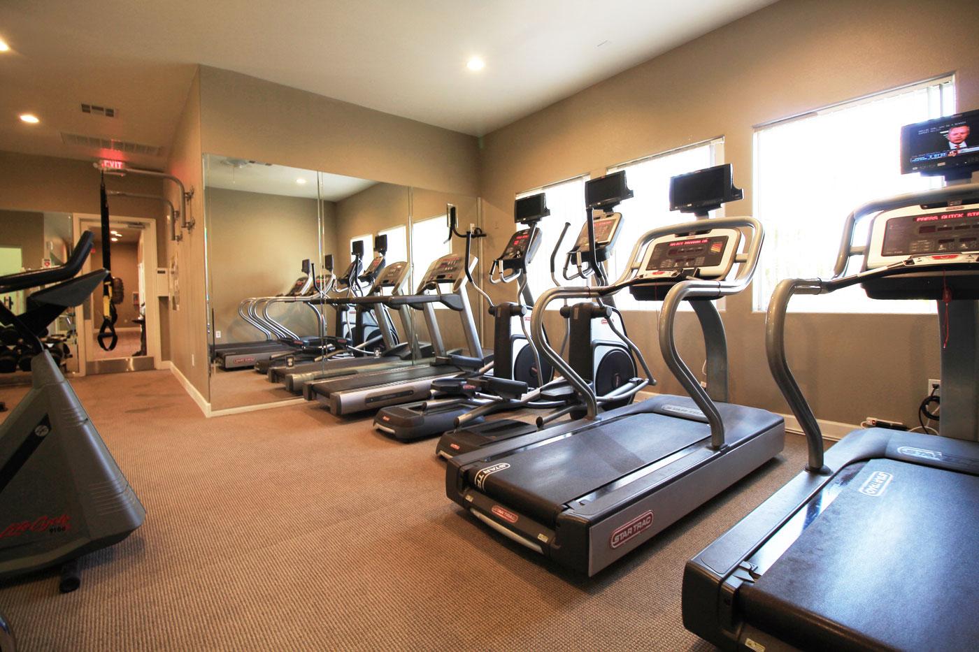View of treadmills