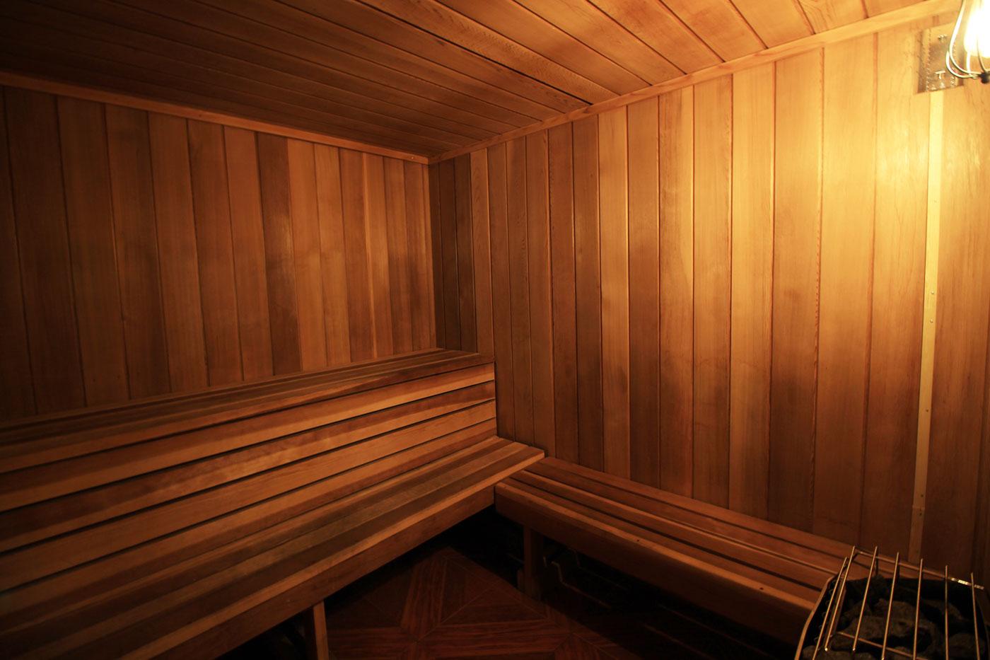 Sauna at La Villa Estates.